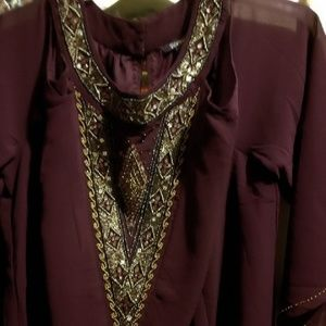 Jeweled Peek-a-boo Plus Size Tunic 22W Dark Wine